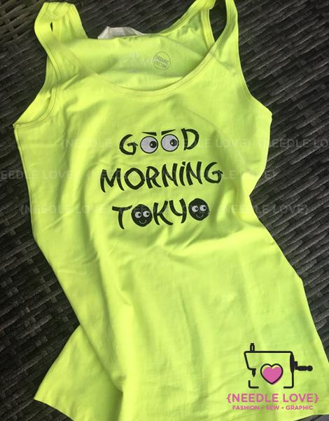 GOOD MORNING TOKYO auf Neongelbem Shirt ein Hingucker