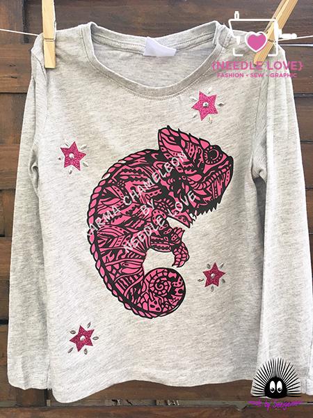Karma Chameleon das neue Lieblingshirt mit Flex und Glitterfolie in pink!